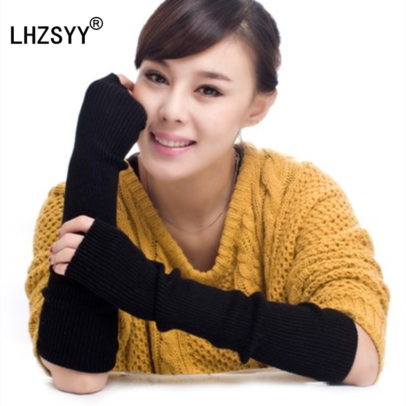 LHZSYY Autumn winter New Long section Thickening Cashmere Gloves Solid fashion Soft and cozy Wool warm Women accessories