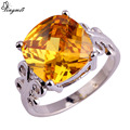 lingmei Fashion Rings Women Jewelry Solitaire Golden Yellow Citrine Silver Ring Size 7 8 9 10 Free Shipping Wholesale