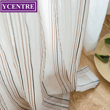 YCENTRE Colorful Strip Style Window Treatment Semi White Voile Tulle Sheer Curtain for Living Room,Kitchen Drape for Bedroom norne embroidered semi white voiles peacock feathers tulle sheer curtains for living room kitchen drape treatment for bedroom