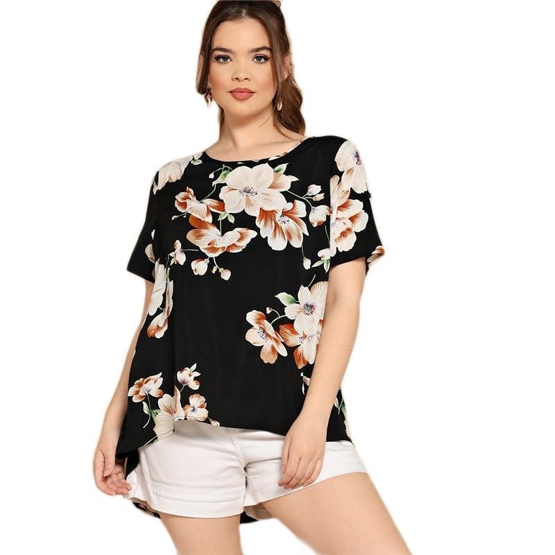 27a50273ac8 SHEIN Black Boho Floral Print Asymmetrical Hem Short Sleeve Women Plus Size  Blouses 2019 Bohemian Summer