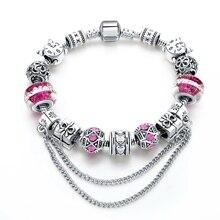 Pink Crystal Charm Bracelet Silver Beads Women Bracelets Bangles 2016 Vintage Jewelry SBR160296 pink crystal charm bracelet silver beads women bracelets bangles 2016 vintage jewelry sbr160296
