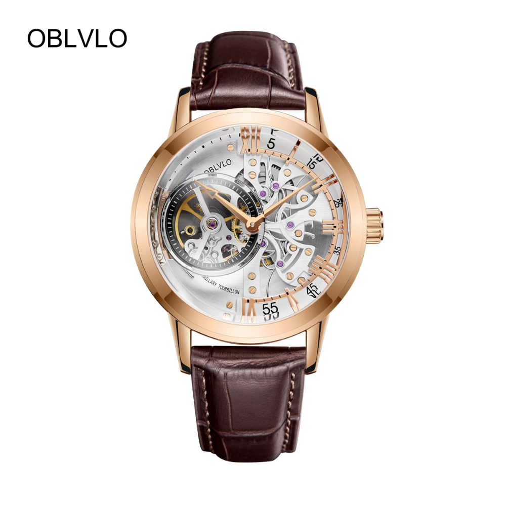 OBLVLO De Luxe Casual Montres Rose Gold Tone Véritable Bracelet En Cuir Squelette Automatique Montres pour Hommes VM 1