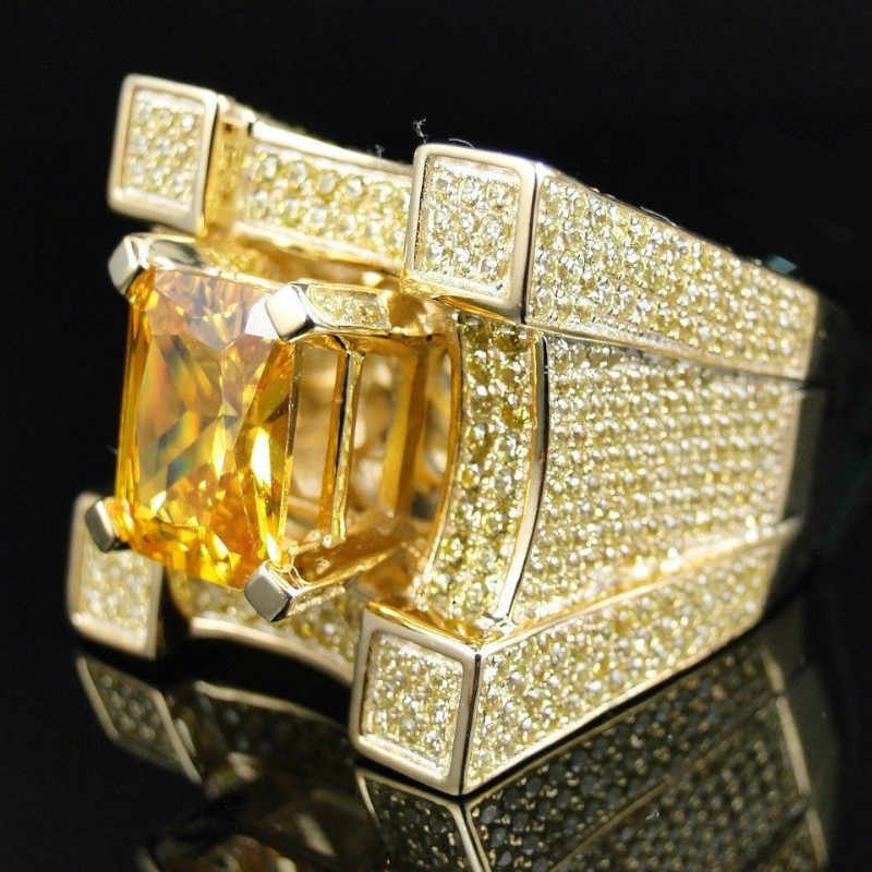 589aca735a484 AAA Cubic Zirconia Ice Out Bling Wide Hip Hop Rings Gold Silver ...