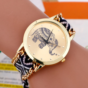Zegarek damski GENEVA słoń bransoletka przyjaźni ręcznie robiona wzory