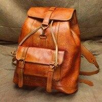 YISHEN Fashion Women Backpack Genuine Leather Women Tarvel Bag Retro Style School Backpack For Teenager Girl