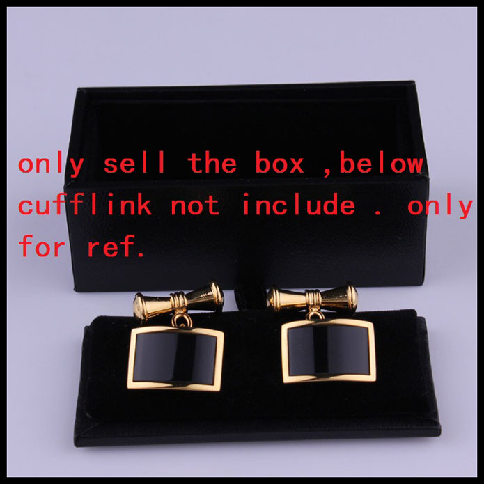 New Man Black Rectangle Faux Leather Small Cufflinks Box 32pcs lot 8x4x3cm Gift Boxes for Men