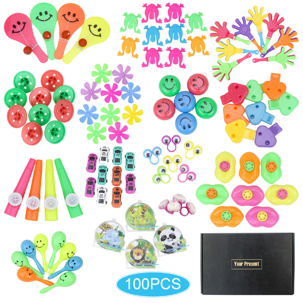 100Pcs Children Cartoon Hats Birthday Party Giveaways Prizes Assorted Small Toys Set Support Kid Playing With Friend Having Fun