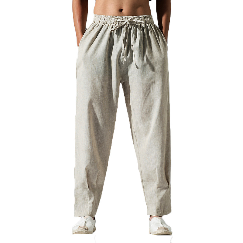 Men Pants Mens Solid Linen Drawstring Flax Pants Men's streetwear Cotton khaki Trousers Fashion Pant Linen pantalon hombre M-5XL