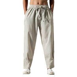 Для мужчин брюки Для мужчин s Solid Linen Drawstring льняные штаны Для мужчин; Уличная Хлопок брюки цвета хаки модные брюки льняные Pantalon Hombre M-5XL