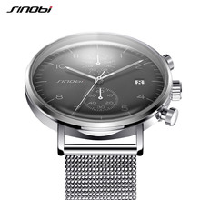 SINOBI Nuevos Hombres de la Moda Marca de Relojes Relojes Para Hombres Ultra-Delgado Reloj de pulsera de Estilo de Negocios JAPÓN Movimiento Cronógrafo Calendario Real