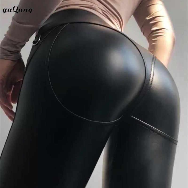 Yuqung/кожаные зауженные брюки из искусственной кожи женские длинные брюки с высокой талией повседневные обтягивающие капри на молнии A51