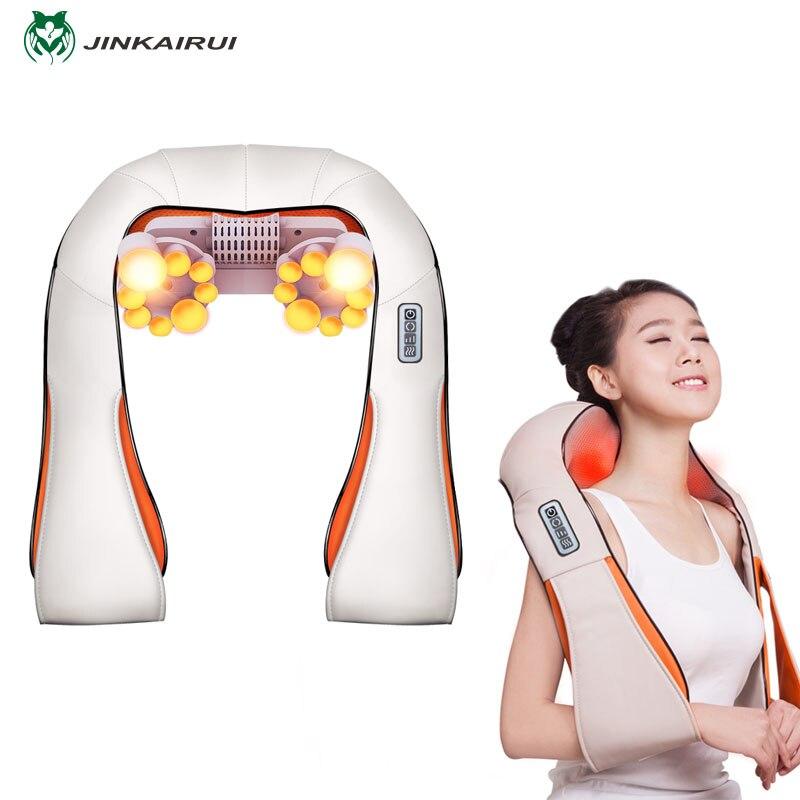 JinKaiRui U Forma Elétrica Shiatsu Massageador Xale do Calor Do Rolo De Massagem Elétrica Multi-função de Dor No Pescoço e Ombro Massagem