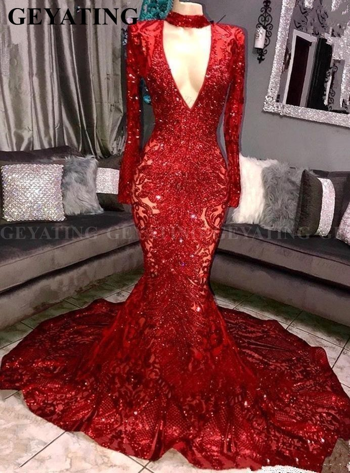 Sexy Deep V-Neck Long Sleeves Mermaid Red African   Prom     Dresses   2019 Sparkly Sequin Plus Size Royal Blue Graduation Evening   Dress