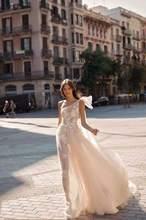 Женское свадебное платье на одно плечо кружевное невесты с аппликацией