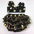 Hot sale ouro Bronzing dots crianças crianças roupas shorts + headband Set Vintage floral Pompom de algodão set bebê roupas de menina