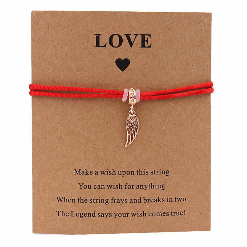 ทำจากปีก Charm สร้อยข้อมือ Lucky Multicolor เชือก Wish สร้อยข้อมือสำหรับคนรักผู้หญิงงานแต่งงานวันเกิดเครื่องประดับของขวัญ Lucky