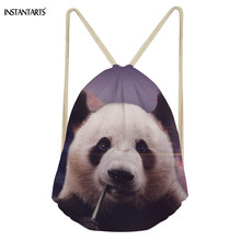 INSTANTARTS 3D Cute Panda Prints Women Man Drawstring Bag Fitness Fashion Casual Backpack Storage Brand Reusable
