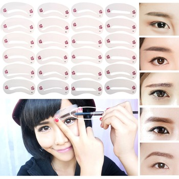 24Pcs Different Styles Eyebrow Stencils Eyebrow Drawing Guide Card Models Template DIY Beauty Shape Make Up Tools 2018 New