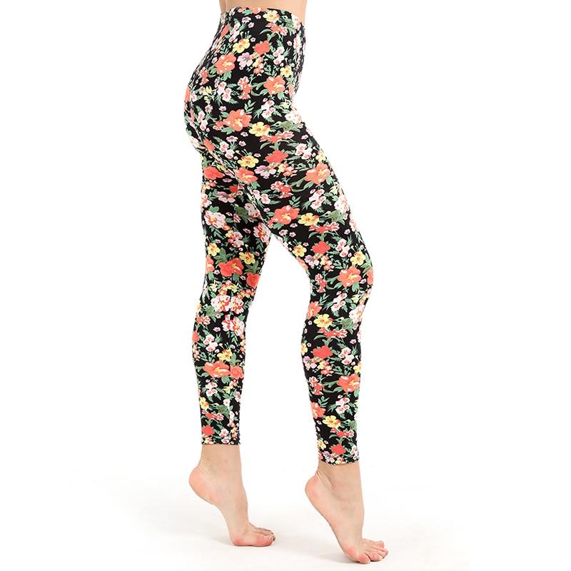 Plus Size   Leggings   High Quality Print Flower Legins casual Pants Fashion Leggins High Waist Sexy Women Clothing Trousers