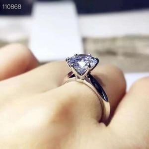 Image 2 - Meibapjきらめくモアッサナイトジェムストーン古典シンプルな 6 爪リング 925 スターリングシルバーファイン結婚式の宝石類