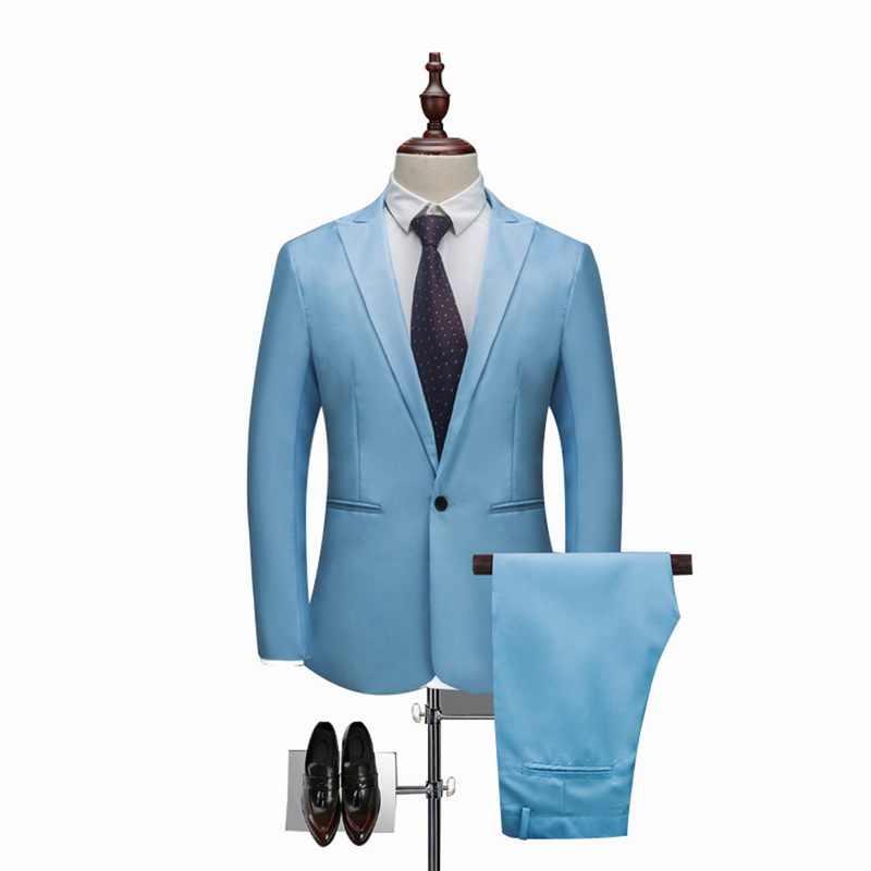 シュージン男性クラシック 2 個ブレザー & パンツスーツセットフォーマルビジネスブレザーセットスリムプラスサイズ 3XL セットウェディングパーティーセット