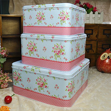 Promotion!3pcs/set Large Iron Storage case Blue Love Metal tin box