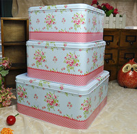 Promotion!3pcs/set Large Iron Storage case Blue Love Metal tin box Candy can cookie box Multi Use Storage container