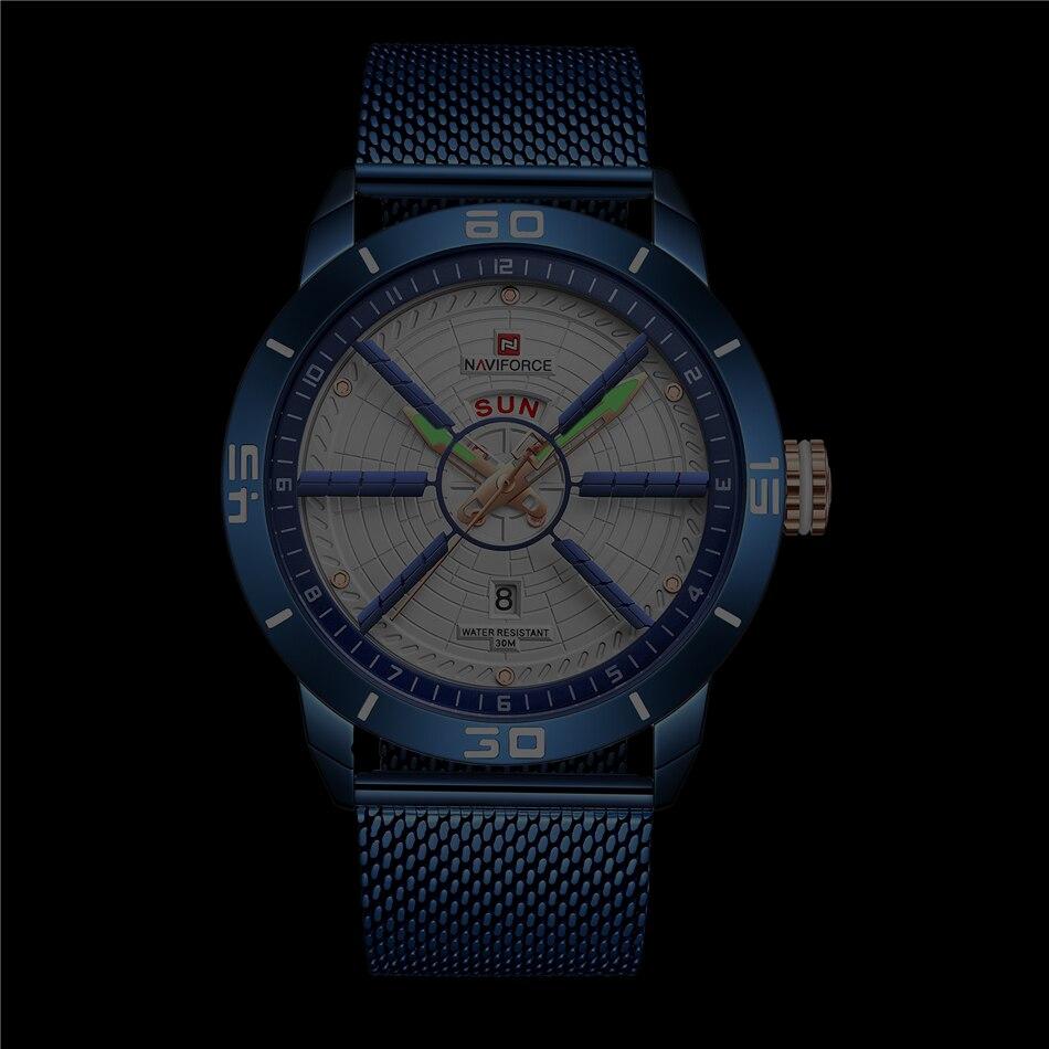 NAVIFORCE Mens Watches Top Brand Luxury Quartz Watch Men Full Steel Men Watch Sport Fashion Business Watches Relogio Masculino 18
