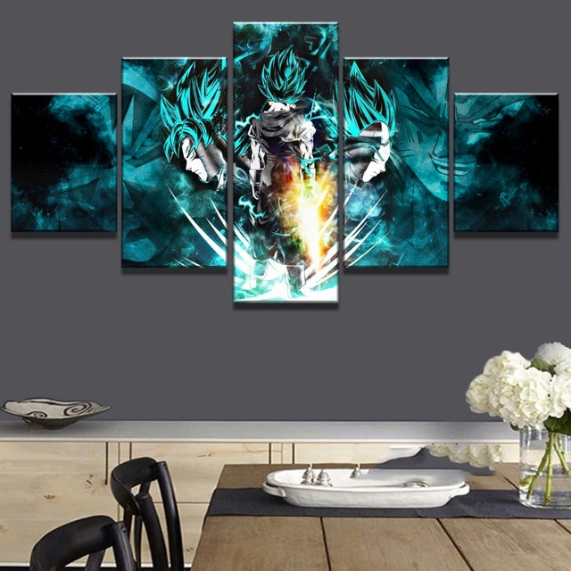 Canvas Painting Prints 5 Pieces Cartoon Dragon Ball Z Pictures Goku Ride Shenron Poster Wall Art Modular Home Living Room