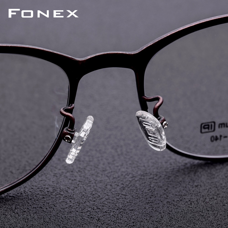 B Pure Titanium Prescription Glasses Men Retro Vintage Eyeglasses Round Myopia Optical Frame Prescription Eyewear with Lens 7706