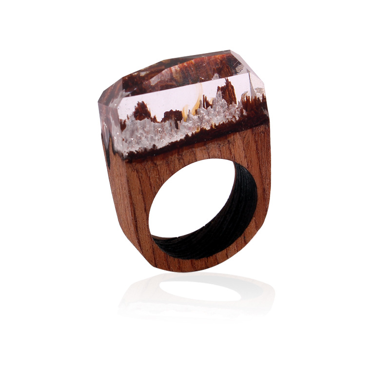 Adomaner Men S Fashion Wood Ring Personality National Wind