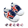 Súper ventas bebé recién nacido niños bebés primer caminante Shoes lienzo reino unido patrón de la bandera Toddle zapatos de bebé para el niño 0 - 2 T