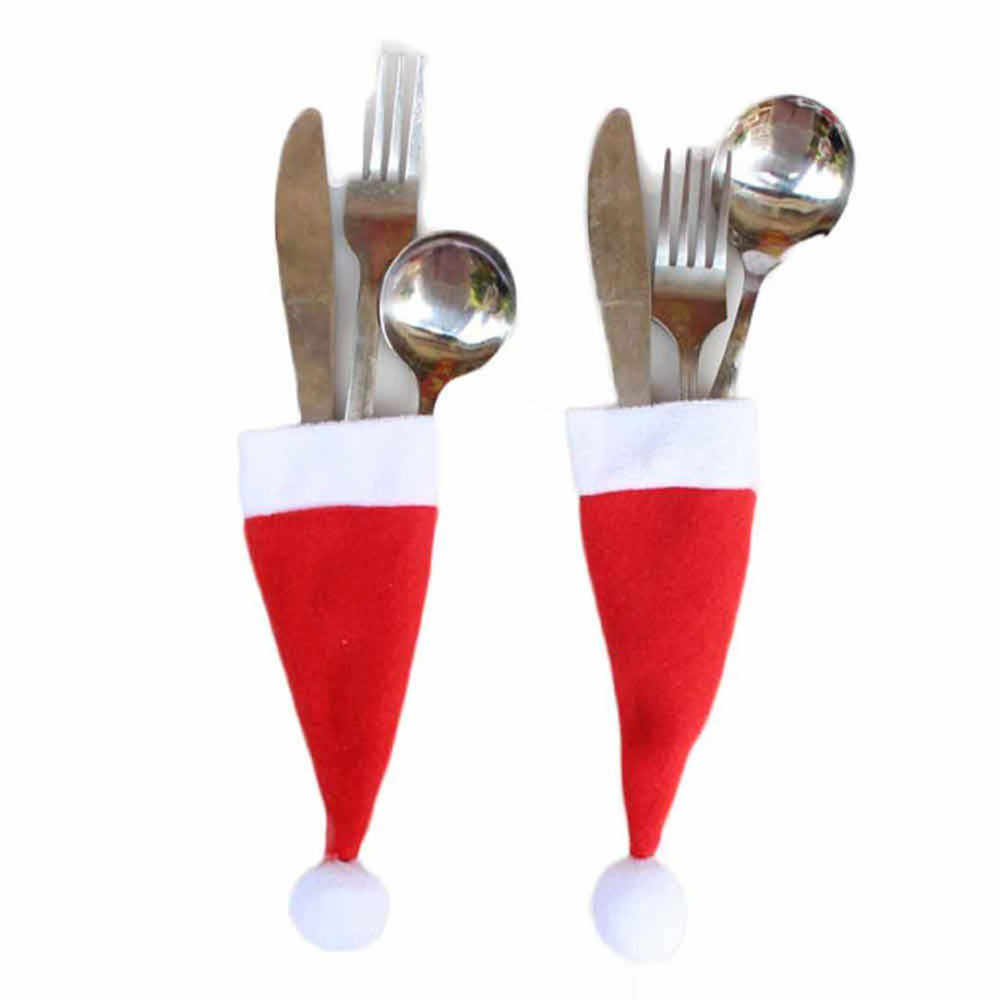10/PC Christmas Caps Cutlery Holder Fork Spoon Pocket Christmas Decor Bag Tablewear Set Covers Christmas Supplies #1205 A1#
