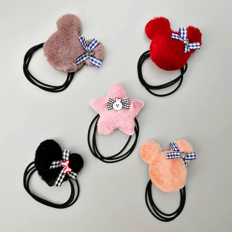 1 97 quot plush fluff ball love star hair ring elastic hair rubber band hair accessories for women girl lady kids hair ties rope in Hair Accessories from Mother amp Kids