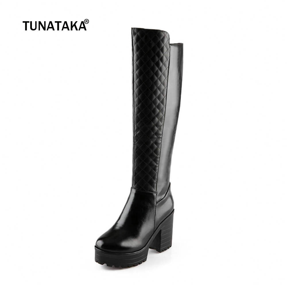 e80e5011e05e6 Women Winter Warm Fur Knee High Boots Platform Thick Heels Fashion Side  Zipper Tall Boot Footwear Black White