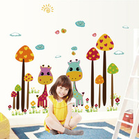 Cute Mushrooms Birds Trees Trees Giraffe Wallpapers PVC Transparent Film Wall Stickers
