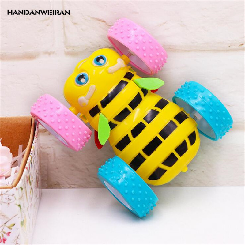 HANDANWEIRAN 1Pcs Plastic Clockwork Toys Cartoon Inertial Double Sided Bee Dump Truck Wind Up Clockwork Toy Kids Educational Toy