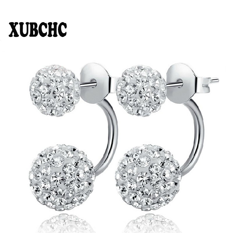 Gratis frakt 16 Färg Double Side Earring Fashion Brand Smycken Alloy Örhängen Crystal Ball Women Dubbel Stud Örhängen 8MM / 10MM