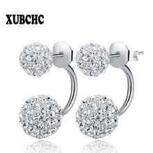 New 19 Color Double Side Earring Fashion Brand Jewelry Stainless Steel Earrings Crystal Ball Women Double Stud Earrings 8MM/10MM(China)