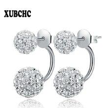 Free Shipping 16 Color Double Side Earring Fashion Brand Jewelry Alloy Earrings Crystal Ball Women Double Stud Earrings 8MM/10MM