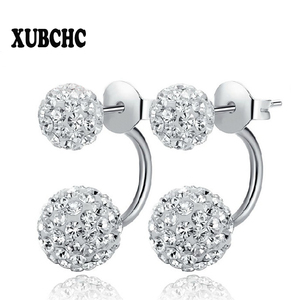 Free Shipping 16 Color Double Side Earring Fashion Brand Jewelry Alloy Earrings Crystal Ball Women Double Stud Earrings 8MM/10MM