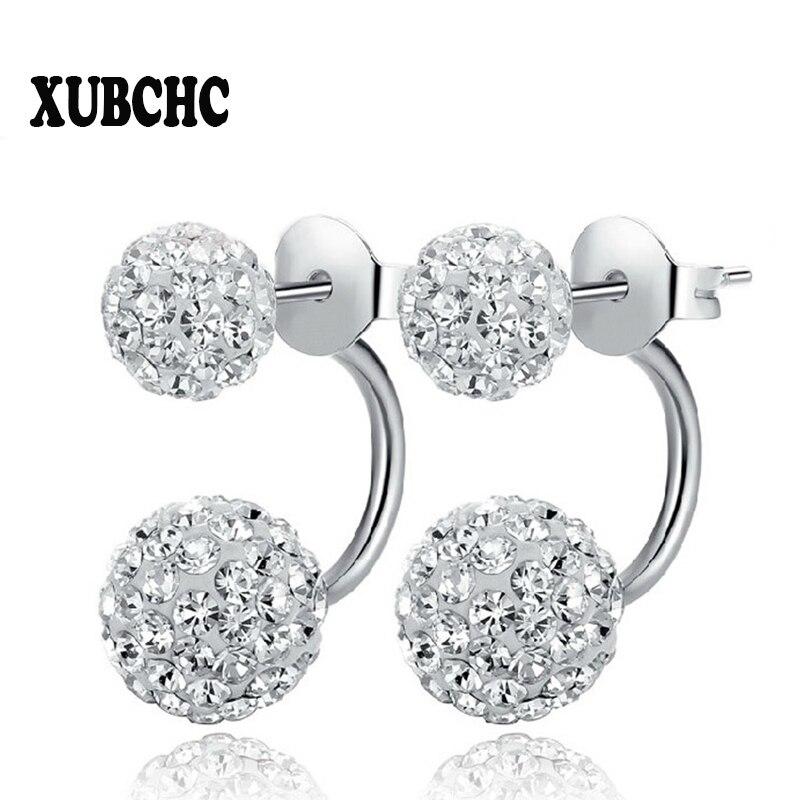 New 19 Color Double Side Earring Fashion Brand Jewelry Stainless Steel Earrings Crystal Ball Women Double Stud Earrings 8MM/10MM