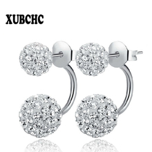 New 19 Color Double Side Earring Fashion Brand Jewelry Stainless Steel Earrings Crystal Ball Women Double