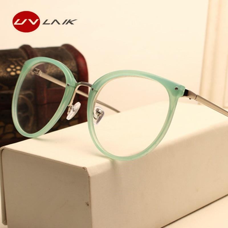 UVLAIK Fashion Optical Glasses Transparent Lens Myopia Eyeglasses Women Vintage Metal Spectacles Womens Designer Eyeglass Frames