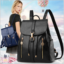 2018 New womens backpack college style large capacity black soft side