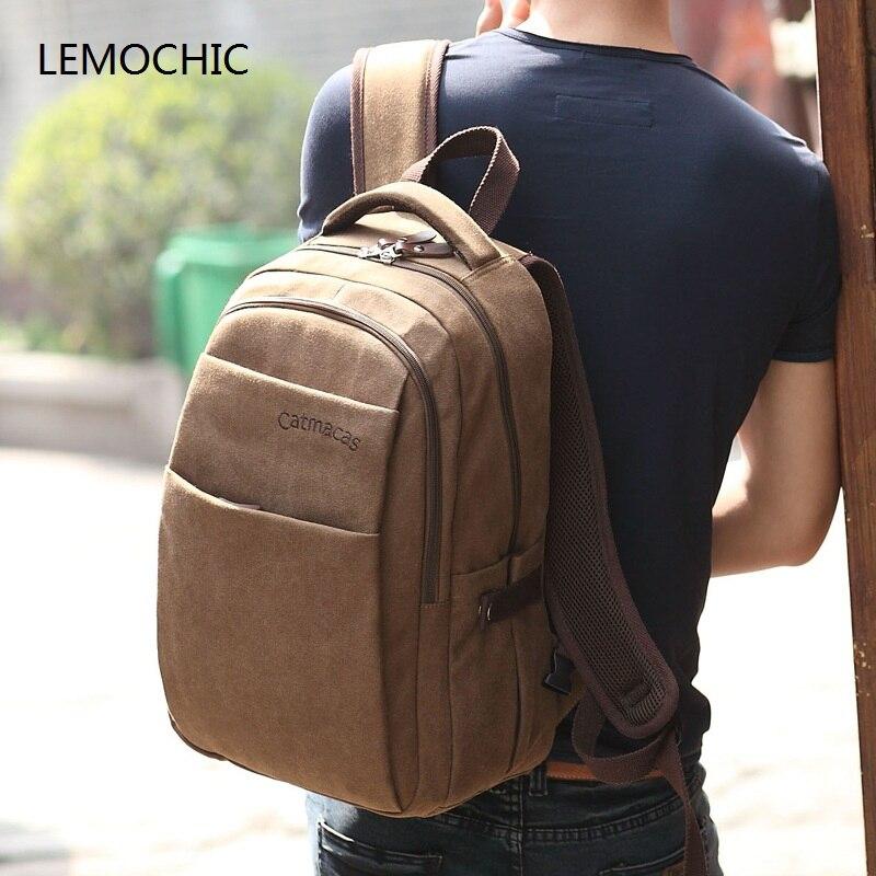 LEMOCHIC casual solid backpacks silt pocket zipper large capacity bags mochila notebook waterproof simple students shoulder bags