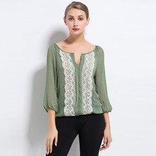 Women Summer Autumn Tops 3/4 Sleeve Casual Chiffon Blouse