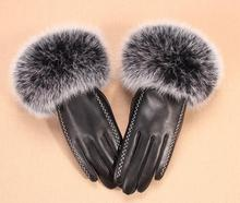 Women #8217 s autumn and winter thicken fleece lining glove lady #8217 s natural sheepskin leather glove genuine fox fur driving glove R293 cheap Gloves Mittens Adult Fashion Solid Oytall Genuine Leather Wrist