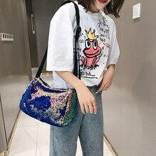 2019 Summer Fashion Design Sequin Bling High Capacity Bucket Bag Ladies All-match Wide Belt Single Shoulder Messenger Bag sequin decor bucket bag