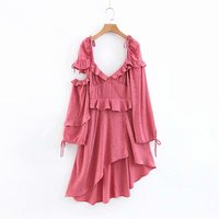 Vintage Sexy Frill Dress Women Irregular Pink Hollow Out Backless Sundress Long Sleeve Polka Dot Dresses Party Female Spring